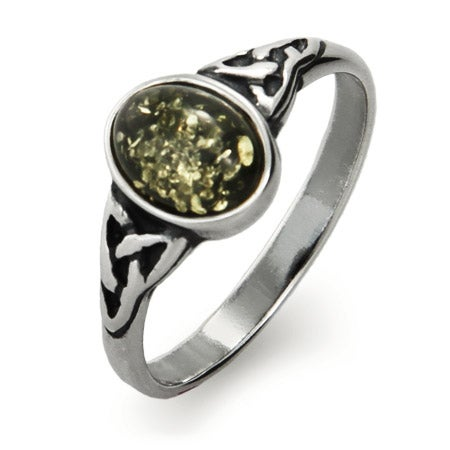 Oval Cut Green Baltic Amber Sterling Silver Celtic Knot Ring | Eve's Addiction®
