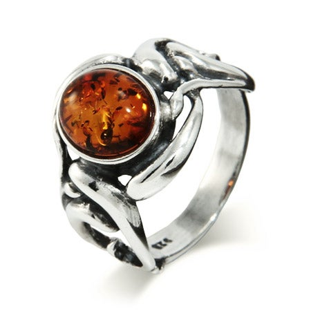 Vintage Style Oval Cut Baltic Amber Silver Ring | Eve's Addiction®