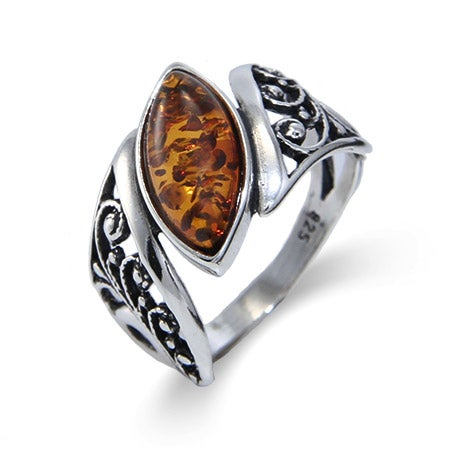 Genuine Baltic Amber Floral Marquise Sterling Silver Ring | Eve's Addiction®