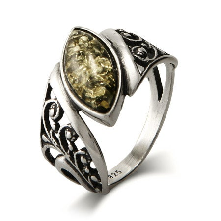 Green Baltic Amber Floral Ring | Eve's Addiction