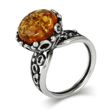Brilliant Round Cut Baltic Amber Ring in Ornate Silver Setting | Eve's Addiction®