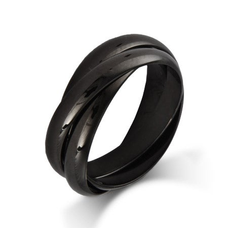 Engravable Black Plate Triple Roll Russian Wedding Ring