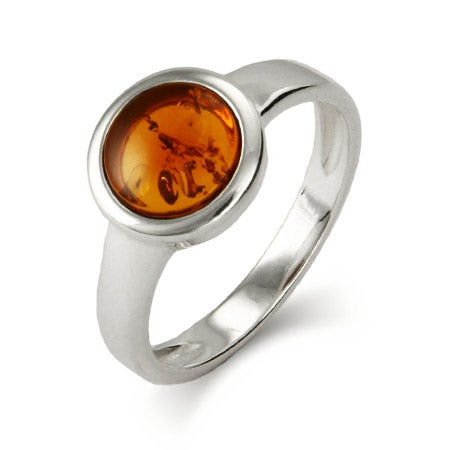 Sterling Silver Bezel Set Baltic Amber Ring | Eve's Addiction®
