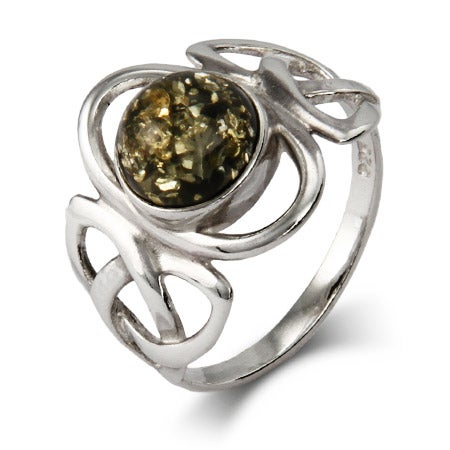 Celtic Trinity Green Amber Sterling Silver Ring | Eve's Addiction®