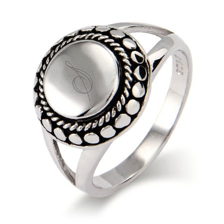 Designer Inspired Sterling Silver Engravable Signet Ring | Eve's Addiction®