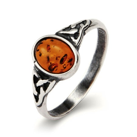 Petite Sterling Silver Oval Amber Ring with Celtic Design  | Eve's Addiction®