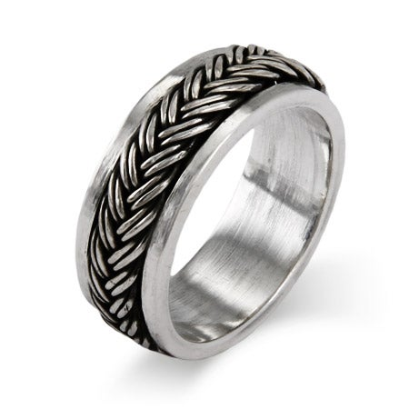 Sterling Silver Braided Design Spinner Band | Eve's Addiction®