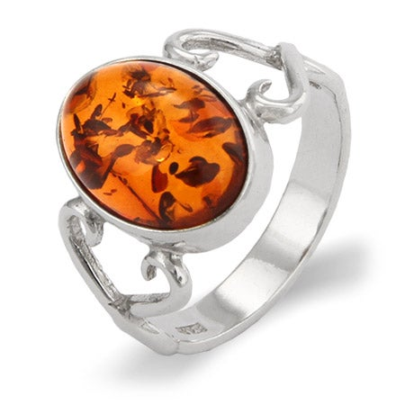 Oval Baltic Amber Ring In Infinity Heart Setting | Eve's Addiction®