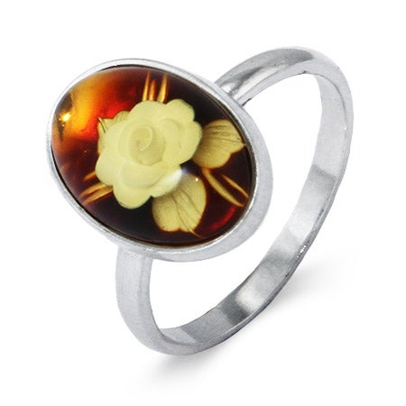 Oval Honey Amber Ring with Intaglio Carved Rose | Eve's Addiction®