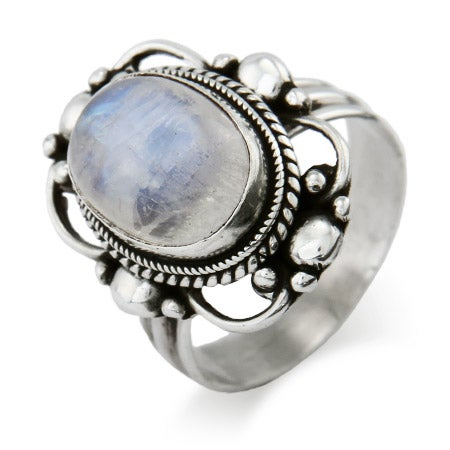 Oval Vintage Scroll Moonstone Ring | Eve's Addiction®