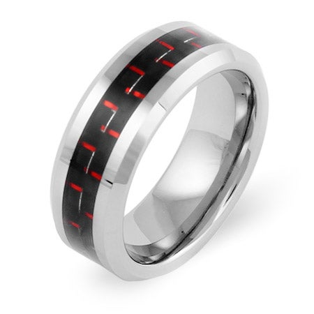 Men's Tungsten Ring with Red Carbon Fiber Inlay | Eve's Addiction®