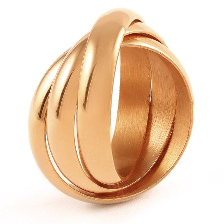 Engravable Rose Gold Triple Roll Russian Wedding Ring | Eve's Addiction®