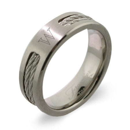 Men's Titanium Double Cable Engravable Signet Class Ring | Eve's Addiction®