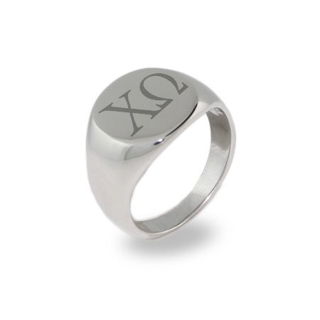 Chi Omega Stainless Steel Oval Signet Ring | Eve's Addiction®