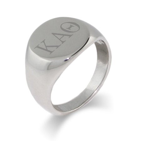 Kappa Alpha Theta Stainless Steel Oval Signet Ring | Eve's Addiction®
