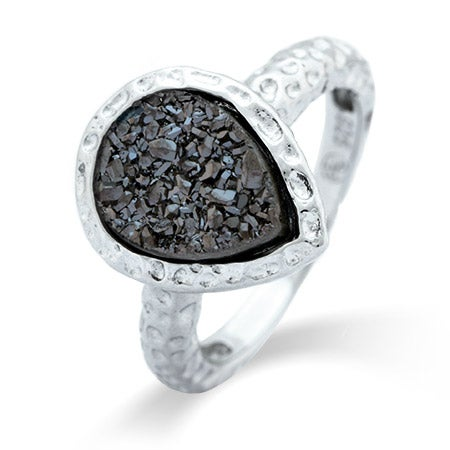 Pearcut Charcoal Drusy Sterling Silver Ring | Eve's Addiction®