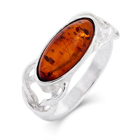 Sterling Silver Baltic Amber Knot Ring | Eve's Addiction®