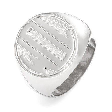 Block Monogram Silver Signet Ring | Eve's Addiction®