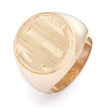 Block Monogram Gold Vermeil Signet Ring | Eve's Addiction®