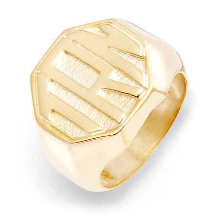 Block Monogram Octagon Gold Vermeil Signet Ring | Eve's Addiction®