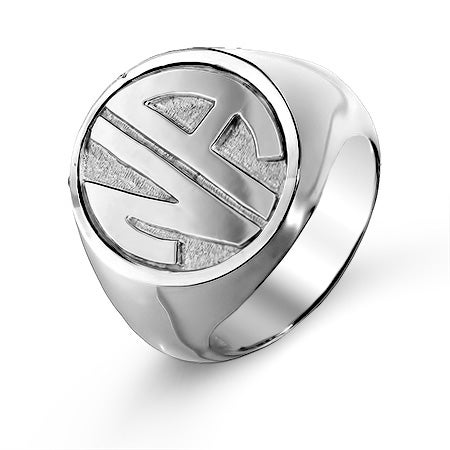 Block Two Initial Silver Signet Ring | Eve's Addiction®