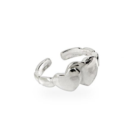 Double Heart Midi Ring in Sterling Silver | Eve's Addiction®