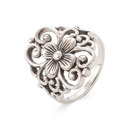 Sterling Silver Filigree Design Flower Ring | Eve's Addiction®
