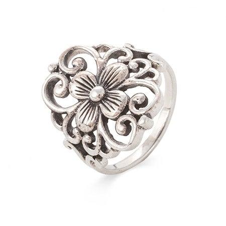 Sterling Silver Filigree Design Flower Ring | Eve's Addiction®
