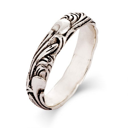 Sterling Silver Carved Leaf Stackable Band | Eve's Addiction®