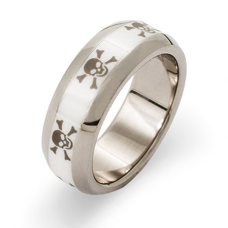Engravable Titanium and Ceramic Skulls and Crossbones Ring | Eve's Addiction®