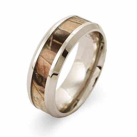 Engravable Stainless Steel 8MM Wood Design Camo Ring | Eve's Addiction®