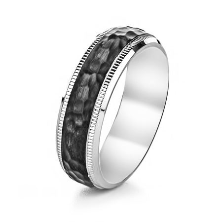 Engravable Stainless Steel Black Hammered and Milgrain Edge Ring | Eve's Addiction®