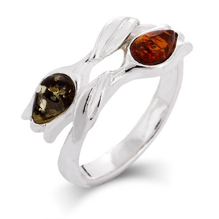 Genuine Baltic Amber Sterling Silver Tulip Friendship Ring | Eve's Addiction®