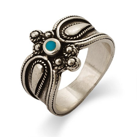 Sterling Silver Bali Style Turquoise Ring | Eve's Addiction®