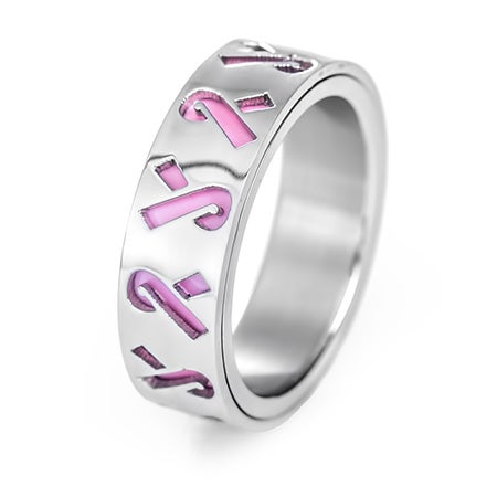 Pink Ribbon Breast Cancer Engravable Ring | Eve's Addiction®
