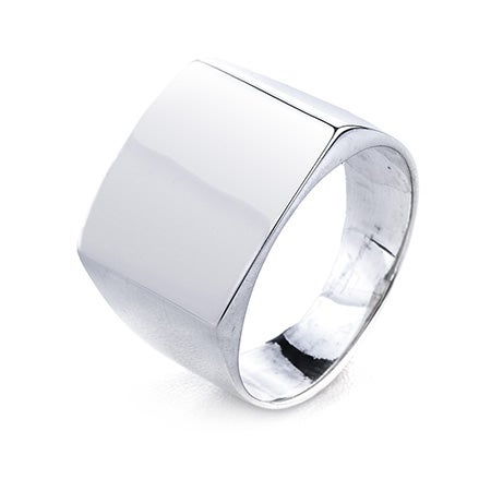 Silver Cushion Cut Engravable Signet Ring | Eve's Addiction®