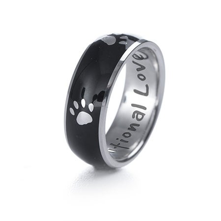 Paw Print Unconditional Love Black Band | Eve's Addiction®