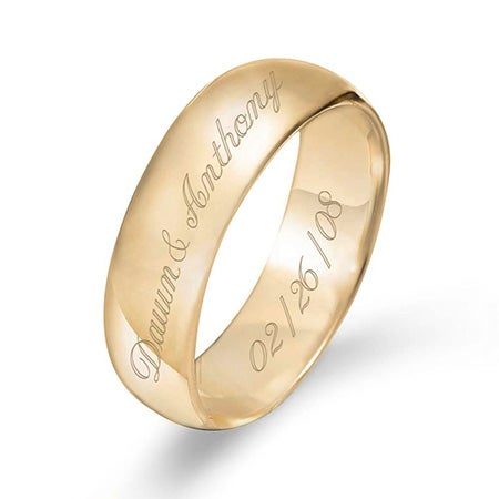 Gold Engraved Couple's Message Ring