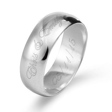 Couple's Engraved Silver 8mm Message Ring