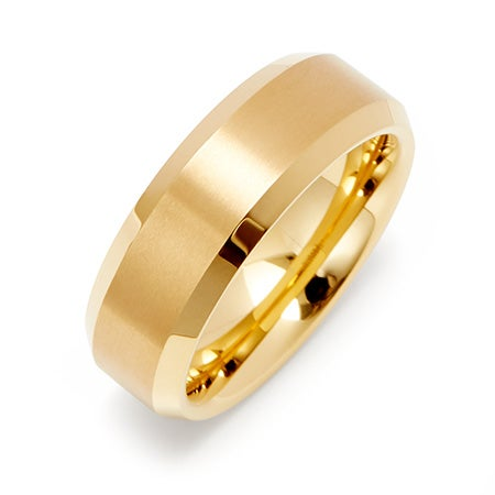 Engravable Men's Brushed Gold Tungsten Ring