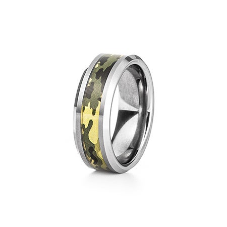 Men's Green Camo Inlay Tungsten Ring | Eve's Addiction®