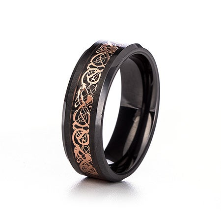 Men's Black and Rose Gold Dragon Design Ceramic Ring | Eve's Addiction®