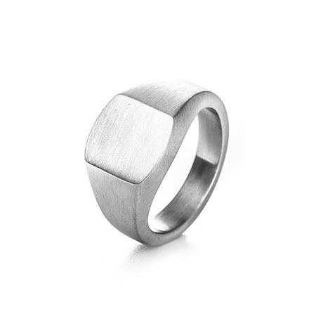 Brushed Stainless Steel Engravable Cushion Signet Ring | Eve's Addiction®