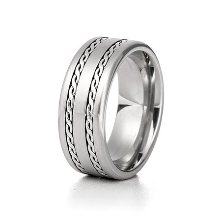 Men's Double Braided Design Engravable Ring | Eve's Addiction®