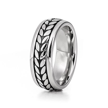 Men's Wheat Design Stainless Steel Engravable Band | Eve's Addiction®