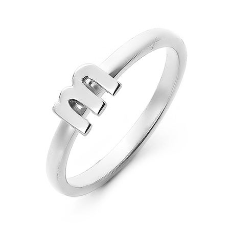 Personalized Stackable Silver Initial Ring | Eve's Addiction®