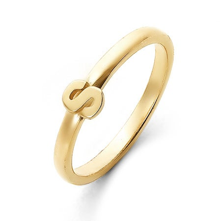 Personalized Stackable Gold Initial Ring | Eve's Addiction®