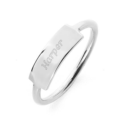 Engravable Bar Ring in Sterling Silver   Eve's Addiction®