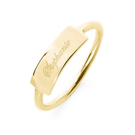 Engravable Gold Plated Bar Ring