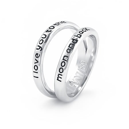 I Love You To The Moon and Back Double Band Silver Ring | Eve's Addiction®